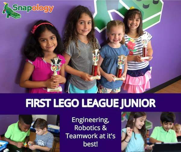 Children win first lego league junior competition at Snapology.